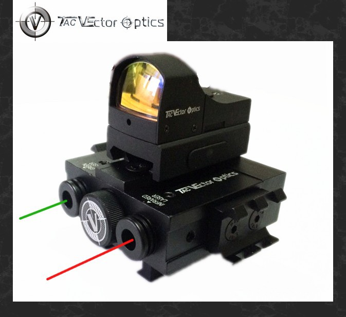 TAC Vector Optics Tactical Integrated Sighting Module 3 in 1 Device - Mini Red Dot Scope & Green / IR Laser AR15 M4 Sight Combo canis latrans tactical mini 1x red 2moa dot dot size free shipping cl2 0078