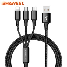 HAWEEL 1.2m Nylon Weave 3 in 1 Micro USB + 8 Pin Type-C Charging Cable, For iPhone, Galaxy, Huawei and Other Smart Phones
