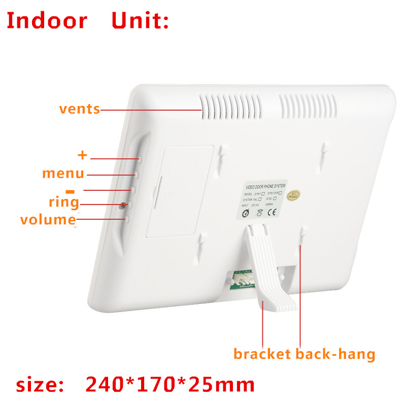 Yobang Security video intercom door bell system 7 inch color screen video with IR camera Wired intercom for private house