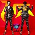 Calças conjunto de jaqueta Blazer Primavera Designer Marca Moda Masculina Jaqueta Casual Selvagem Leopard Emenda Cerca Da Ligação para a cantora dançarina