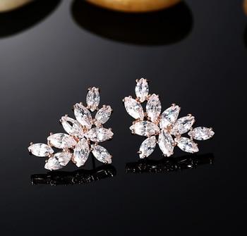 Real Gold Plated Luxury Trendy  925 Silve Allergy Free Ear Pin Leaf Platinum Zircon Stud Earring Fashion Bijoux Jewelry