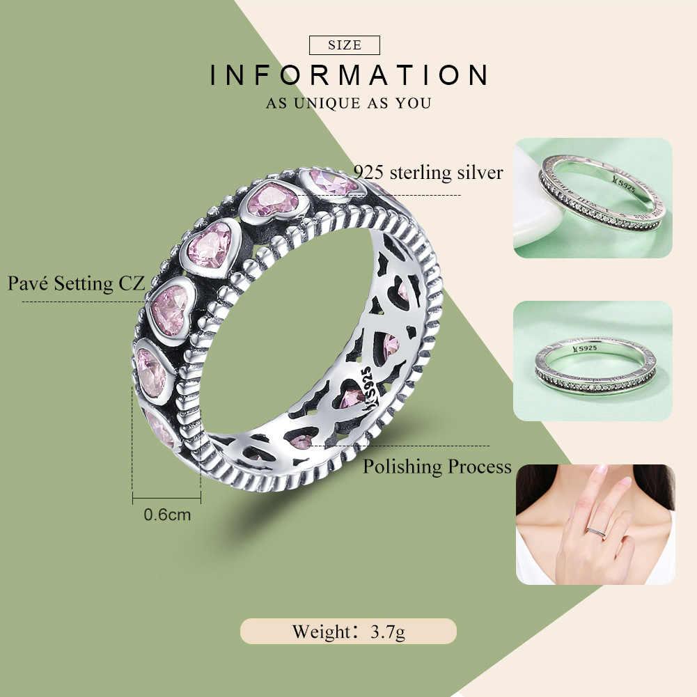 WOSTU ใหม่อินเทรนด์ 925 เงินสเตอร์ลิงโรแมนติกสีชมพู Heart Stackable แหวนสำหรับงานแต่งงานแฟชั่นผู้หญิงเครื่องประดับของขวัญแฟน DXR166