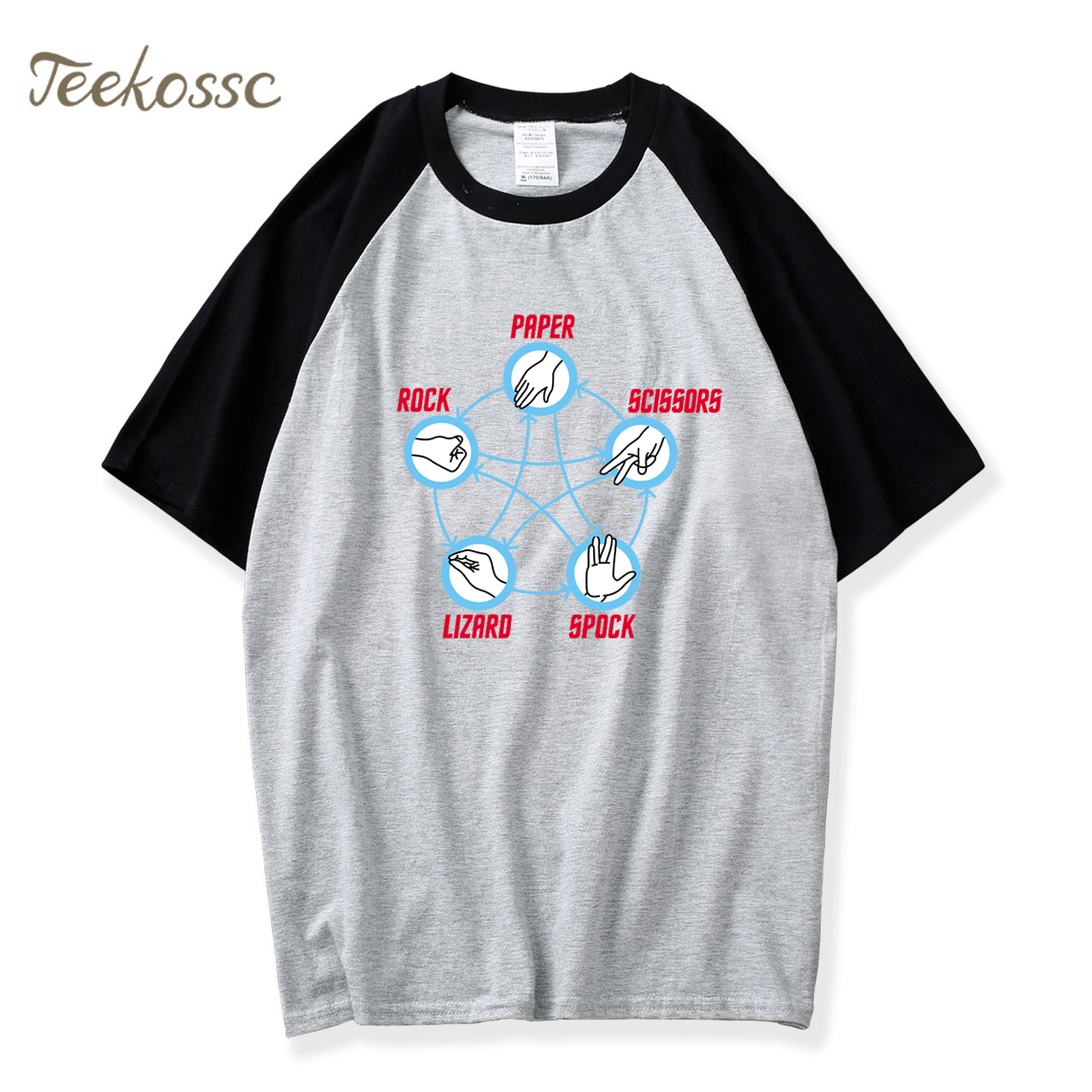 Star Trek Big Bang Theory Rock Paper Scissors Lizard Spock Adult T-Shirt 2018 Summer Raglan T Shirt Men 100% Cotton Mens Shirts