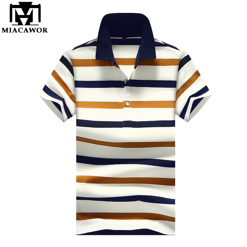MIACAWOR New 2019 Fashion Striped Mens   Polo   shirts Plus Size Summer Short-sleeve Business   Polo   shirts Casual Men Clothes MT646