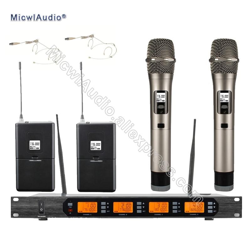 D400 4x100 Canal Numérique Sans Fil Microphone Système 2 De Poche + 2 Poche Micwl. Audio D400-007