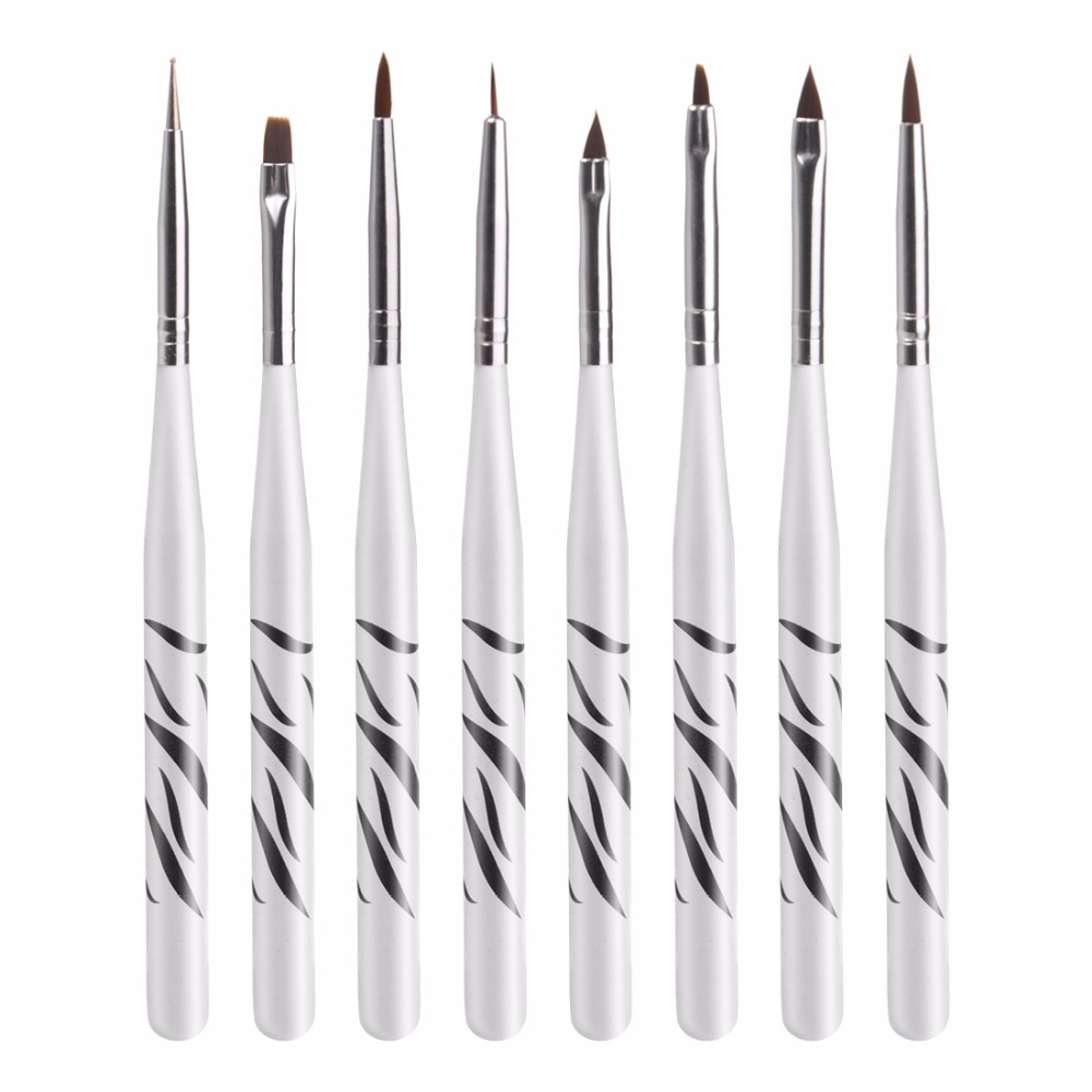 Biutee 8Pcs Professional Zebra UV Gel Pen Brush Nail Art Acrylic 8 Size Flat Brush Pen Dotting Drawing Paint Salon Tool Set ...