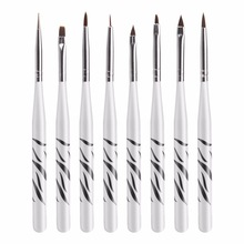 8Pcs Профессиональный Zebra UV Gel Pen Brush Nail Art Acrylic 8 Размер Плоская кисть Pen Dotting Drawing Paint Salon Tool Set