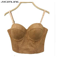 JYConline Hot Sexy Bandage Bustier Crop Top Women Push Up Bralette Corset Bra Outwear Sexy Cropped