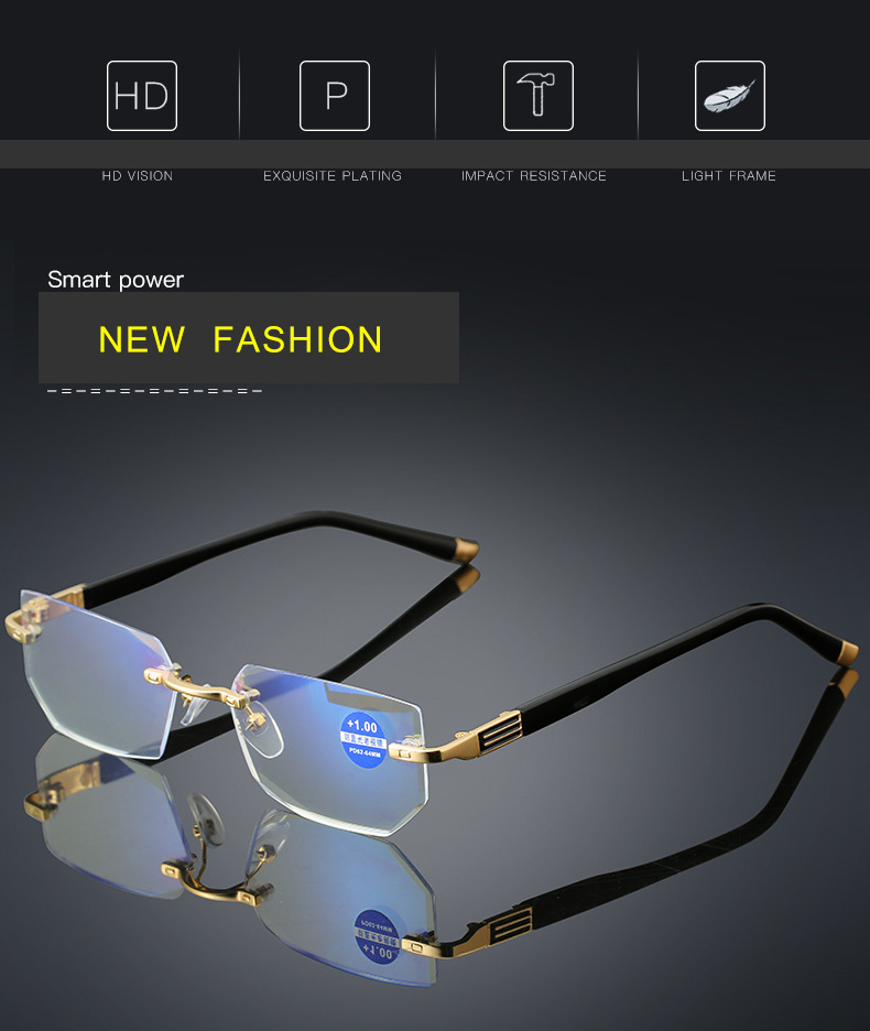 c2e307b0af Anti-fatigue Anti-blue light Diamond trimming Crystal clear Ultralight  Rimless Mobile phone reading glasses 2019 new