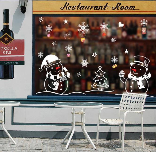 Christmas Tree Snowman Christmas New Year Shop Window Wall Sticker Christmas Decorations