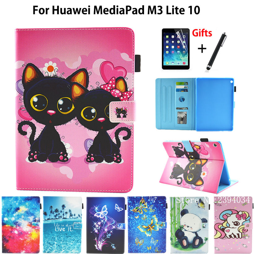 Case For Huawei MediaPad M3 Lite 10 10.1 BAH-W09 BAH-AL00 BAH-L09 Cover Funda Cat Panda Pattern PU Leather Stand Shell+Film+Pen touchpad keyboard case for huawei mediapad m3 lite 10 bah l09 tablet pc for huawei mediapad m3 lite 10 bah l09 keyboard case