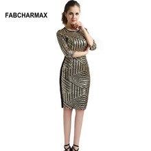 FABCHARMAX half sleeve geometric patterns gold women chic club sexy bodycon  dress d5e7686616f7