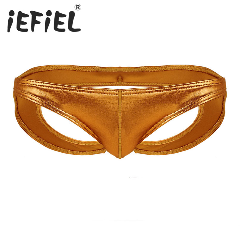 iEFiEL Sexy Gay Mens Male Lingerie Mens Soft Shiny Faux Leather Low Waist Open Back Stretchy Bikini Briefs Underwear Underpants