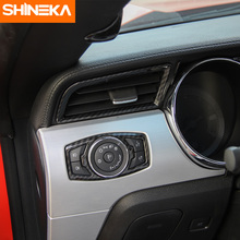 SHINEKA Car Styling Full Set Car Interior Decoration Trim Carbon Fibre Style Cover Trim for Ford Mustang 2015+ shineka car styling interior cover instrument panel trim dashboard trim for ford mustang 2015