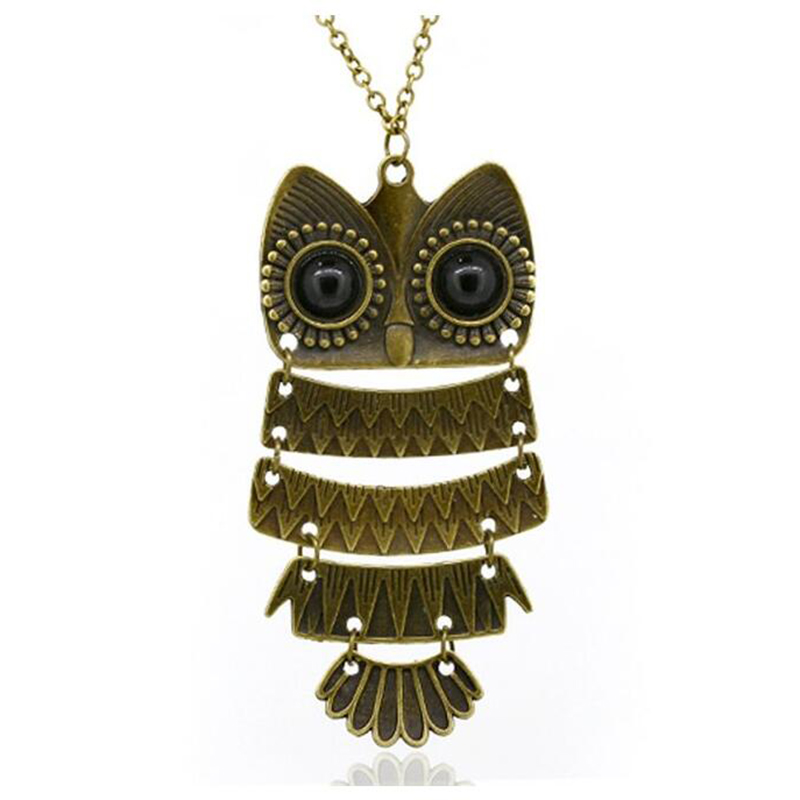 product Korea Adorn Article Vintage Owl Pendants NecklaceAncient the Owl Sweater Chain Jewelry N1177 N1176