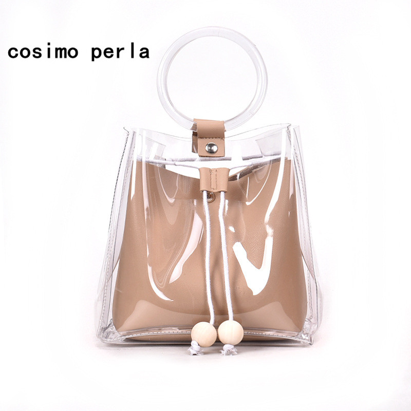 Summer Clear Beach Bag For Women 2018 Plastic Handbags Chains Jelly Silicone Round Handle Drawstring Transparent