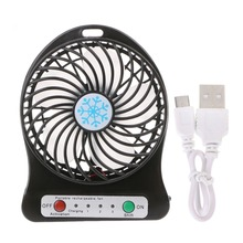Portable LED Light  Mini Fan Air Cooler Desk USB Third Wind Rechargeable ABS Office Outdoor Home