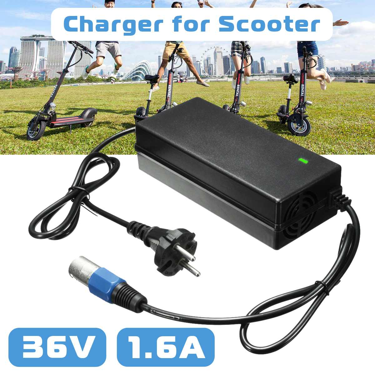 36 Volt <font><b>36V</b></font> 1.6A 3 Male Connector Lead Acid <font><b>Electric</b></font> <font><b>Battery</b></font> <font><b>Charger</b></font> Cable For Scooter <font><b>Bike</b></font> IZIP I-750 I-1000 Sereno eZip 1000 image