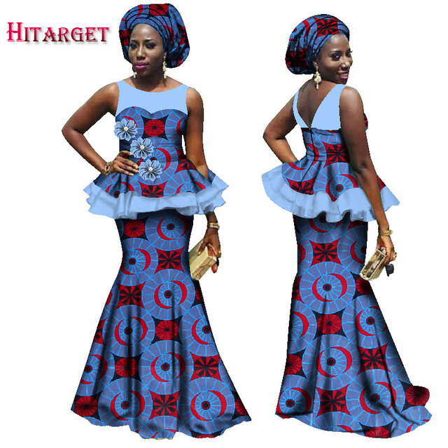 Africa Dashiki Woman Clothing African Bazin 100% Cotton Women Traditional Clothing Riche Women Skirt Sets with Headtie WY1680
