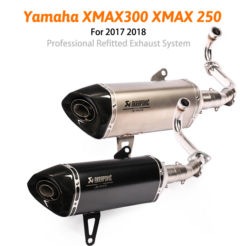 For 2017 2018 <font><b>Yamaha</b></font> XMAX300 <font><b>XMAX</b></font> <font><b>250</b></font> <font><b>Exhaust</b></font> Pipe Slip On 51 mm Motorcycle Complete System Front Mid Link Elbow Muffler Escape image