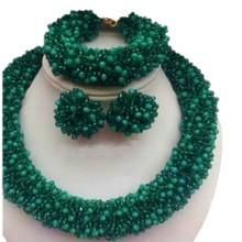 Высокое качество Дубай ожерелье ювелирный набор зеленый смелый Африканский колье ожерелье набор браслет серьги пользовательский цвет еврей Индийский Бисер