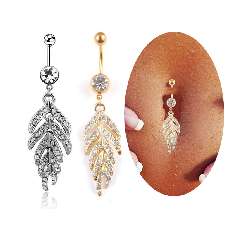 HTB11lURQFXXXXXhXpXXq6xXFXXXg Gold & Silver studded Leaf Feather Dangle Navel Stainless Belly Ring - 2 Colors