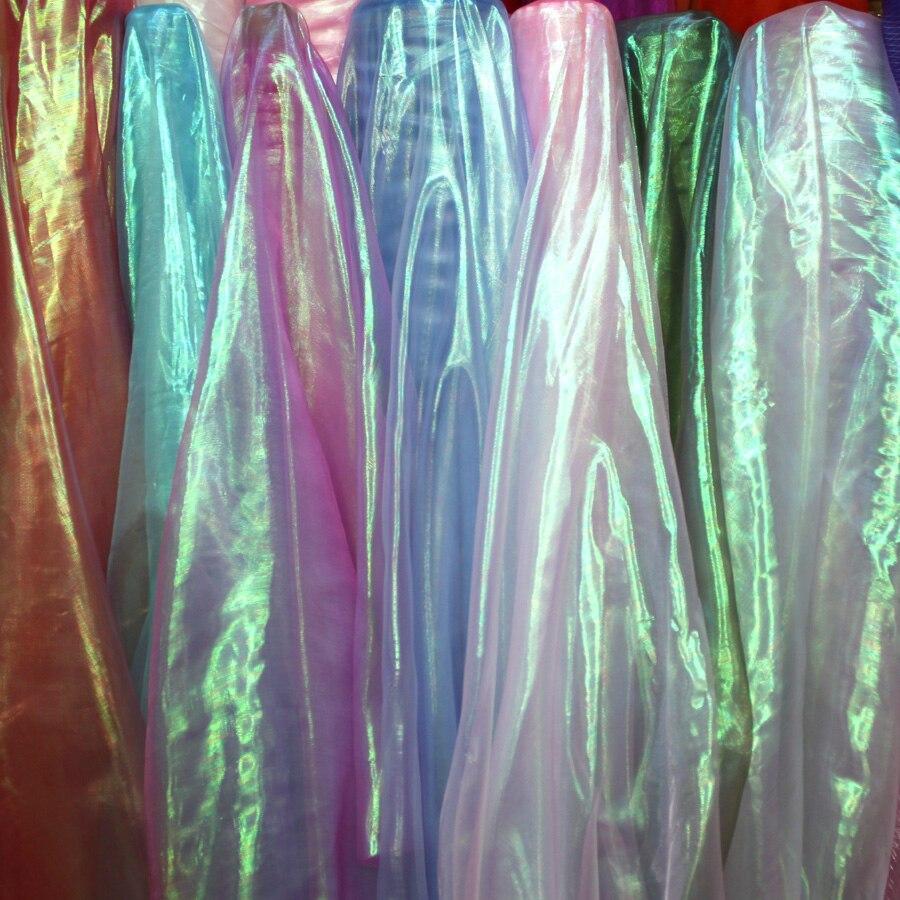 """רוחב 150 ס""""מ * 5 m/הרבה לייזר המבריק בד ניילון צבעים דקור קישוטי גזה גזה מצעי חתונה חומרי עבודת יד DIY"""