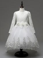 ילדי כדור שמלת ילדה פרח גבוה/נמוך תחרת שמלת הערב אלגנטי קצר קדמיות ארוך בחזרה סיום שמלות לבנה נשף יפה
