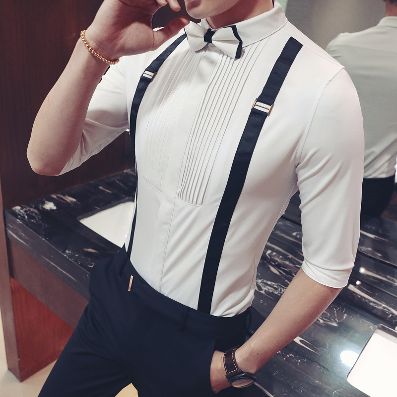 Men Pleat Shirt With Bowtie Men Tuxedo Shirt Black White Stylish Shirts For Men Wedding Party Club Party Slim Fit Shirt Men  5xl