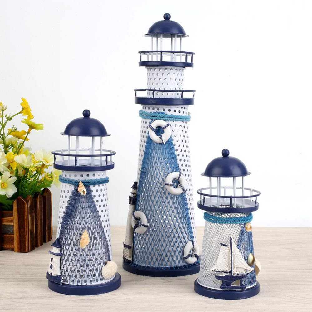 Handcraft Mediterranean Light Changing Beacon Designed Lighthouse Tools Creative Light Decoration Home Ornaments Drop shipping