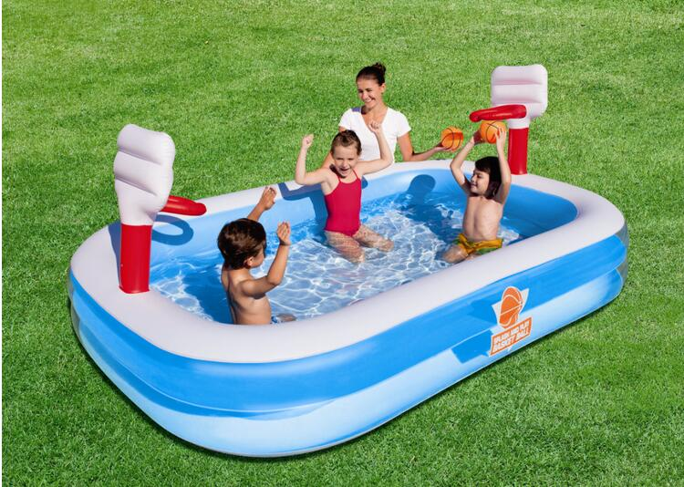 Basketball Entertainment Pool inflatable pool swimming pool 54122 Bestway children's pool of high-quality 254 * 168 * 102CM 58330 bestway 42 1 07m safety pool ladder specially designed ladder for above ground swimming pool of height 1m pool staircse
