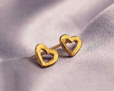 New Solid 24K Yellow Gold Stud Earrings 6.5mm Heart Stud Smart for LadyNew Solid 24K Yellow Gold Stud Earrings 6.5mm Heart Stud Smart for Lady