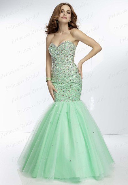 Free Shipping Tailor Made Fishtail Sweetheart Floor Length Tulle