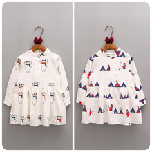 Girls Party Dress Cartoon Printing Kids Dresses for Girls Clothes 2017Long Sleeve Robe Fille Wedding Dress Princess Costume
