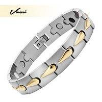Vivari 2017 Men 4in1 Magnet Negative Ions Germanium Far Infra Red 2 Tone Bracelet Jewelry Gold