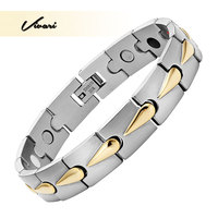 Vivari 2017 Men 4in1 Magnet Negative Ions Germanium Far Infra Red 2 Tone Bracelet Jewelry Gold