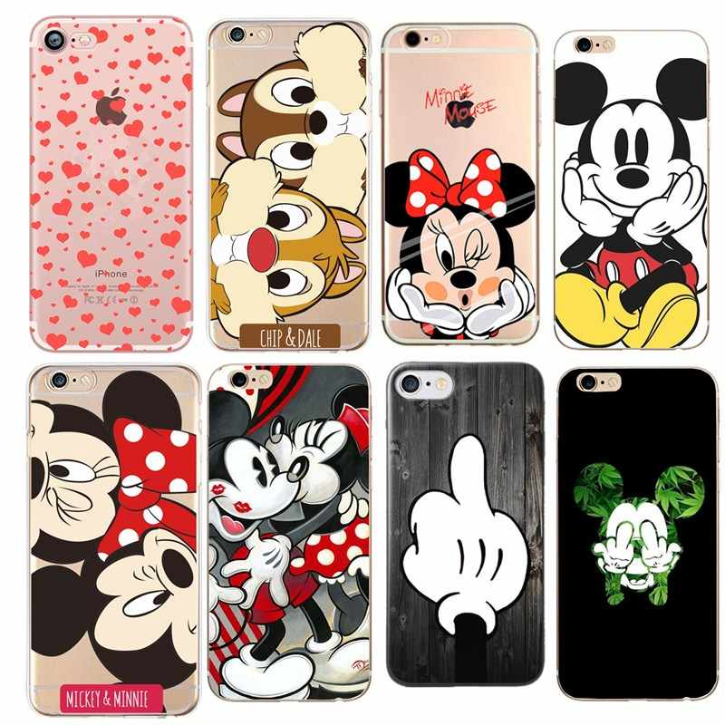 Phone Case For iPhone X XS 8 7 Plus 6 6s Lovely Cartoon Mickey Minnie Squirrel Ultra Thin Soft For Iphone 5s se Cover Cases Capa