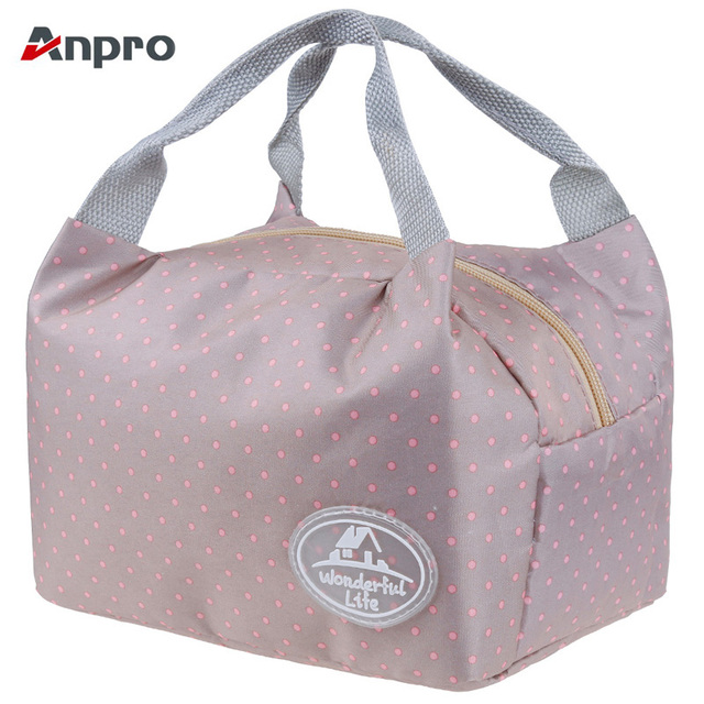 Anpro Pink Dots Portable Insulated Lunch Bag Microwave Lunch Box Kids Food  Waterproof Leakproof Bento Box School Picnic Bag Tote b048efcc334e