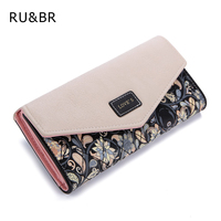 2016 New Fashion Envelope Women Wallet Hit Color 3 Fold Flowers Printing PU Leather Wallet Long