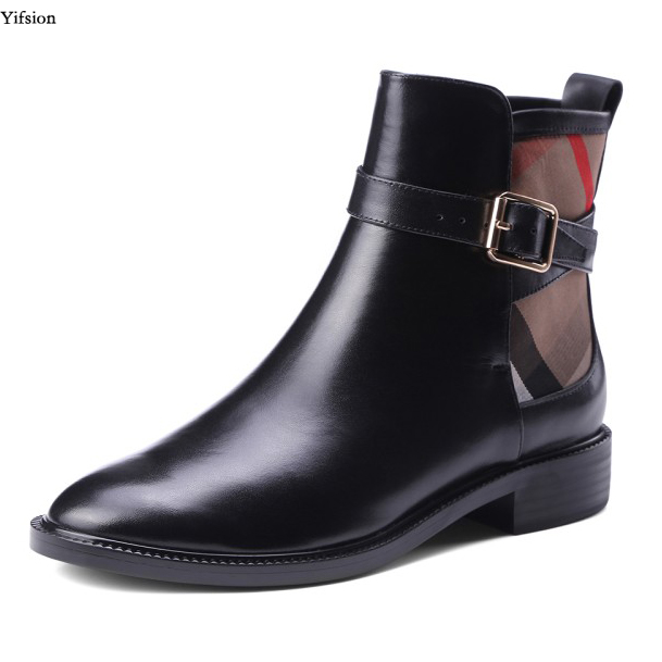 Olomm New Stylish Women Leather Ankle Boots Sexy Low Heels Boots Nice Round Toe Elegant Black