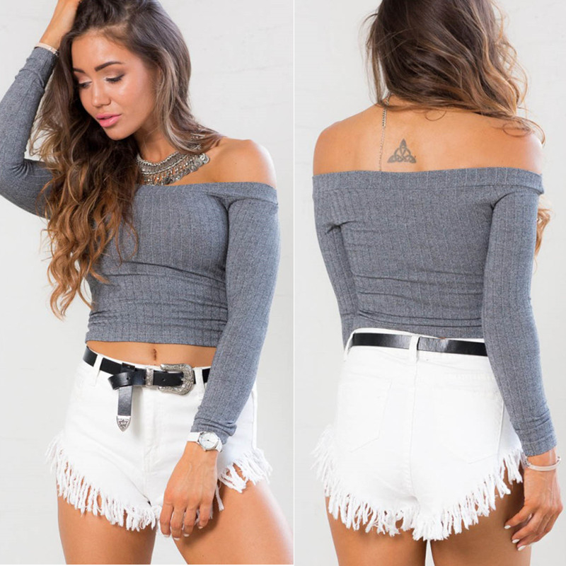 2016 Autumn New Elegant Sexy Slim Elastic Basic <font><b>Rib</b></font> <font><b>Knit</b></font> Off Shoulder Slash Neck Long Sleeve Women <font><b>T</b></font> <font><b>Shirt</b></font> Crop Tops Knitwear