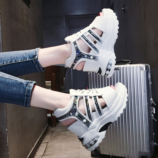 Women's platform sandals female 2019 new summer wild Roman fish mouth hollow slope with 11cm casual fashion beach sports sandals