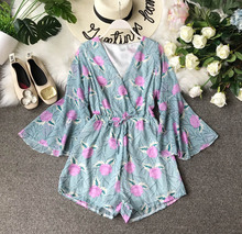 Playsuit Jumpsuits for Women 2019 Printed Flowers Korean New Jumpsuit Female Summer High Waist Thin Chiffon Wide Leg Shorts