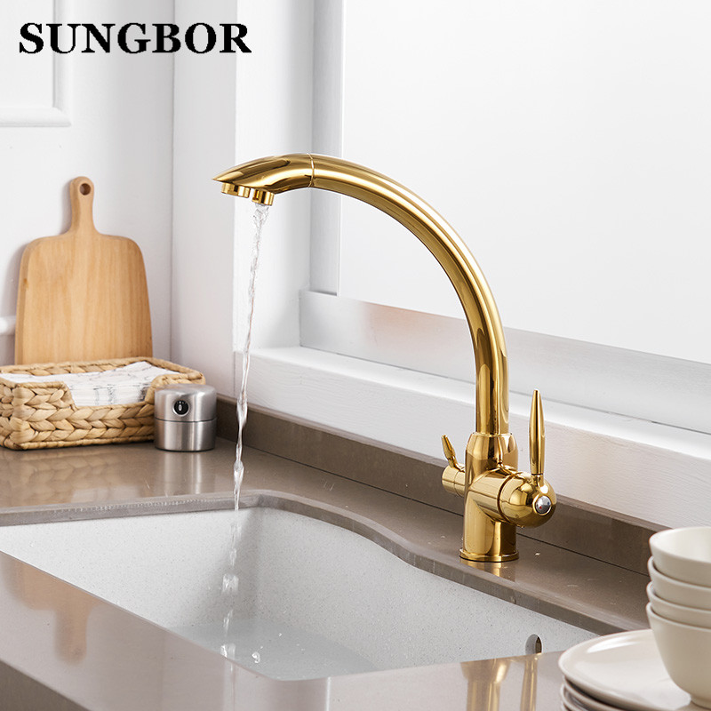 Solid Brass Chrome Finished Osmosis Reverse Tri Flow Water Filter Tap Three Ways Sink Mixer 3 Way Kitchen Faucet Cf 9103l