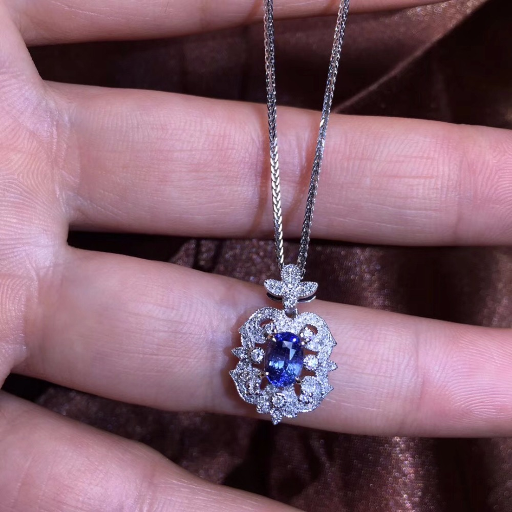 Fine Jewelry GFCO Certificate Real 18K White Gold AU750 Natural Blue Sapphire 0.74ct Gemstones Pendants for Women Fine NecklaceFine Jewelry GFCO Certificate Real 18K White Gold AU750 Natural Blue Sapphire 0.74ct Gemstones Pendants for Women Fine Necklace