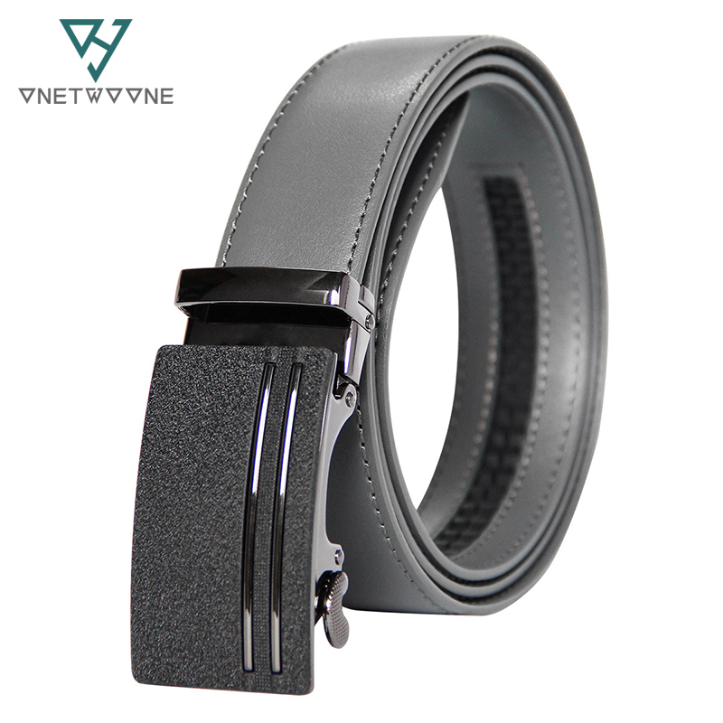 New Arrivals Men 100% Genuine Leather   Belt   Cowhide Cowboy   Belt   Straps With Alloy Automatic Buckle Gray Color Leather Straps