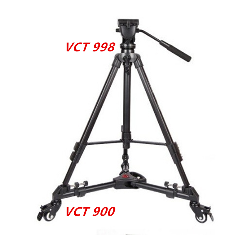 YUNTENG VCT998 Fluid Head Professional Tripod Video Camcorder + VCT900 3 Wheels Pulley Universal Folding Dolly Base Stand