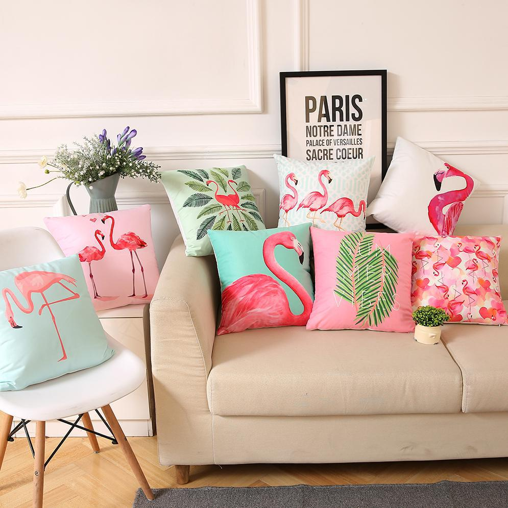 Nordic Style Tropical Plants Cushion Cover Pink Flamingo