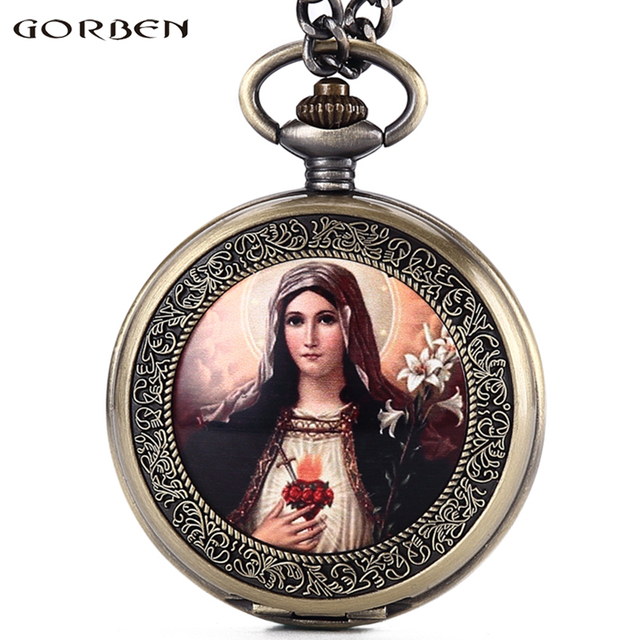 Virgin Mary Quartz Pocket Watch Bronze Women's Watches Roman Numerals Dial Chris