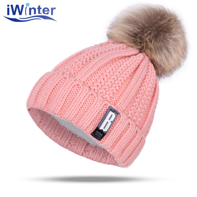 IWINTER 2017 Fashion Girl 'S Skullies Beanies Winter Caps For Women Knitting  Hat Pompoms Ball Warm Thick Female Cap skullies